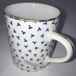 Tiffany and Co. White Bone China Blue T Cup